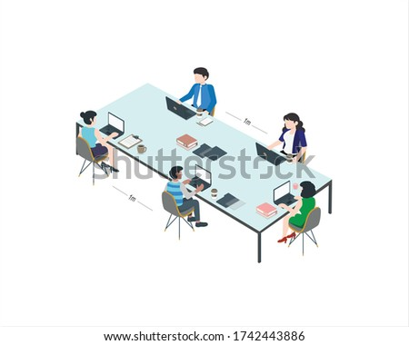 Social distancing at workstation offices. for mutual safety Employees work at a desk by keeping a distance for the covid 19. Vector vector