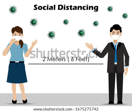 Social Distancing.Businessman and woman wearing surgical face mask keeping distance 2 meters to protect from corona virus diseases  (COVID-19). Idea for coronavirus outbreak, prevention and awareness.
