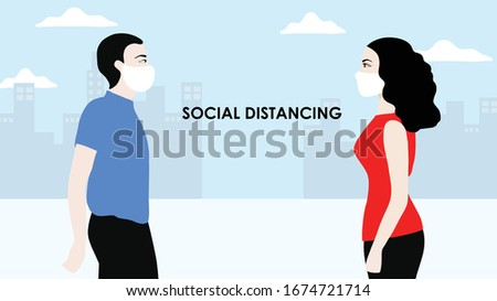 Social distancing concept man and woman people keep distance 2 meters to  prevent from COVID-19 coronavirus disease vector illustration