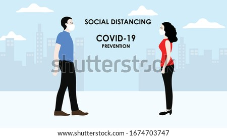 Social distancing concept man and woman people keep distance 2 meters to  provent from COVID-19 coronavirus disease vector illustration