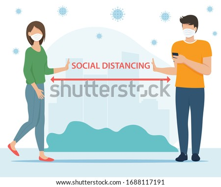 Social distancing concept. People keeping distance for infection risk and disease. Coronavirus outbreak vector concept. Covid-19 virus in air. Flat vector illustration