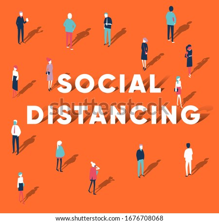 Social distancing concept people standing away to prevent COVID-19 coronavirus disease vector illustration