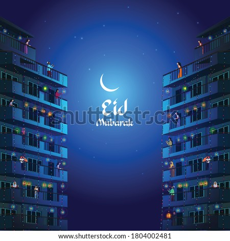 Social distancing during Islamic festival Eid, Celebrating Eid from balcony, Vector