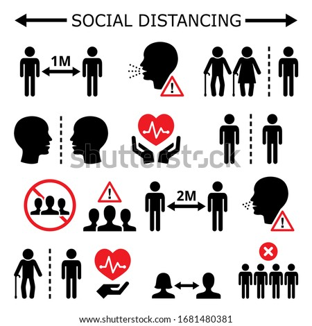 Social distancing during pandemic or epidemic vector icons set, keeping a distance between people, self-quarantine and self-isolation in society concept. Increasing the physical space between people