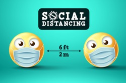 Social Distancing emoji vector sign. Emoji or emoticon with face mask in public social distancing for covid-19 preventive measure. Vector illustration.