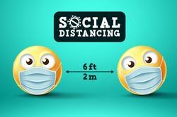 Social Distancing emoji vector sign. Emoji or emoticon with face mask in public social distancing for covid-19 preventive measure. Vector illustration.