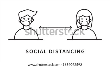 Social distancing icon. Keep the 1-2 meter distance. Coronovirus epidemic protective. Flat line style. Vector illustration