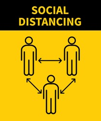 Social distancing icon. Keep the 1-2 meter distance. Coronovirus epidemic protective. Vector illustration