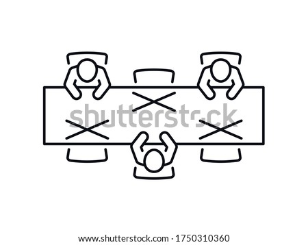 Social distancing icon. Prevention measures sign. People keeping distance at table for infection risk and disease. Line vector isolated on white background.