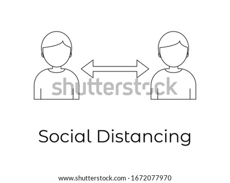 Social distancing icon - Quarantine measures sign - Coronavirus pandemic 2019-ncov prevention icon- Virus spread prevention - avoiding social contacts with people -social isolation