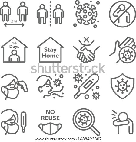 Social distancing icon set vector illustration. Contains such icon as mask, quarantine, cough, self isolation, temperature, COVID-19 check and more. Expanded Stroke Stock photo ©