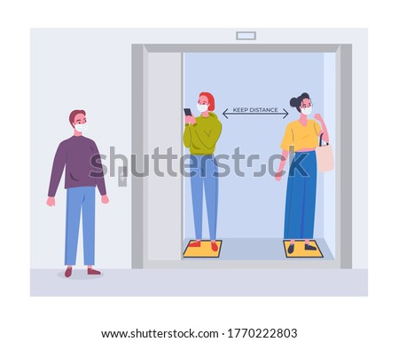 Social distancing in an elevator (lift). People wearing mask keep distance. Two women in an elevator, man waiting next. Don't crowd in elevator. New normal lifestyle after coronavirus covid 19 spread