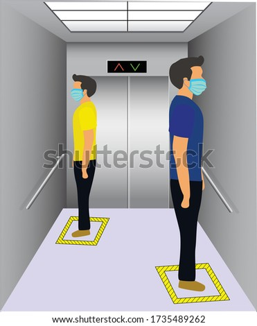 Social distancing in an elevator. Office employees are maintain social distance in lift and elevator for prevention of covid 19 virus. Vector illustration of passenger lift with mask people.