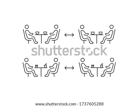 Social distancing in cafe. Distance of  between the tables in cafe or restaurant. Two people sitting at a table. Keep a safe COVID-19 simple thin line icon vector illustration