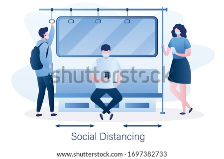 Social distancing in public transport. People in the subway, male and female characters with protective masks on faces. Humans sitting and standing in metro. Covid-19 pandemic. Vector illustration