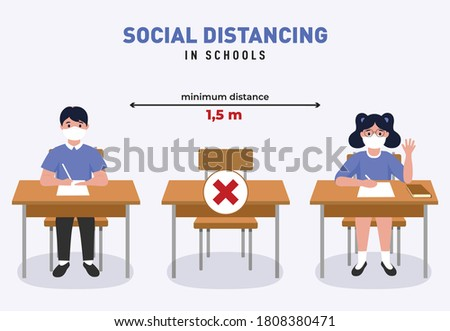 Social distancing in schools illustration. New normal at school. Coronavirus (COVID-19) Guidance for Schools. New Rules at school. Children maintaing safe distance. Students sitting in the classroom