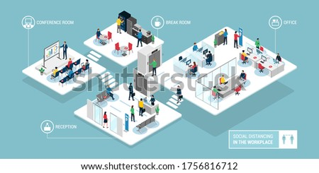Social distancing in the workplace: isometric business office interiors and safety measures to prevent coronavius covid-19 contagion