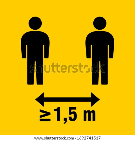 Social Distancing Keep a Safe Distance of at Least 1,5 Metres or 1,5 m Icon. Vector Image.