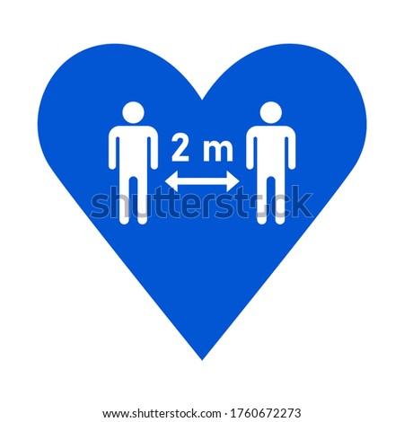 Social Distancing Keep a Safe Distance of 2 m or 2 Metres Icon in a Heart. Vector Image. Zdjęcia stock ©