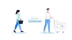 Social distancing, keep distance in public society people to protect from coronavirus, man and woman  in medical masks with cart and basket of food. Line design character. Vector cartoon banner.
