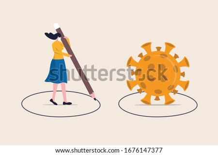 Social distancing, keep distance in public society people to protect from COVID-19 coronavirus outbreak spreading concept, woman keep distance away by drawing circle with virus pathogens