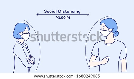 Social distancing, keep distance in public society people to protect from COVID-19. The idea of ​​stopping the spread of the virus. Hand drawn in thin line style, vector illustrations.