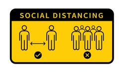 Social distancing. Keep the 1-2 meter distance. Coronovirus epidemic protective. Vector illustration