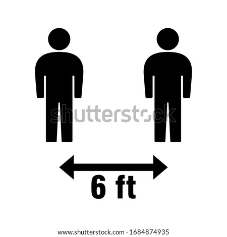 Social Distancing Keep Your Distance or Maintain a Distance of 6 Feet Icon. Vector Image.