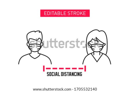 Social distancing line icon. Keep your social distance banner. Man and woman wearing disposable medical masks against each other. Coronavirus protection and prevention