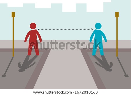 Social distancing,  location or distance concept. Editable Clip Art.