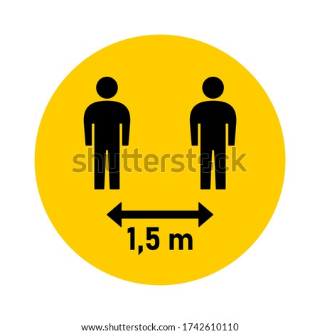 Social Distancing 1,5 m or 1,5 Metres Round Badge Icon. Vector Image. Zdjęcia stock ©