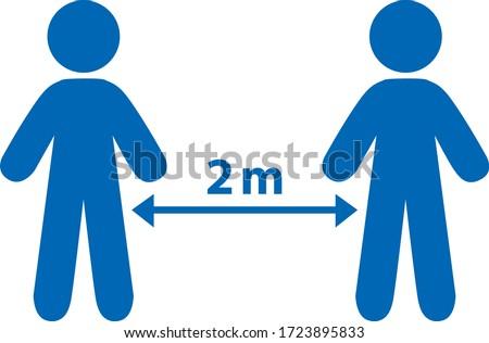 Social distancing. 1-2 meters distance between two people. Vector pictograms. Photo stock ©