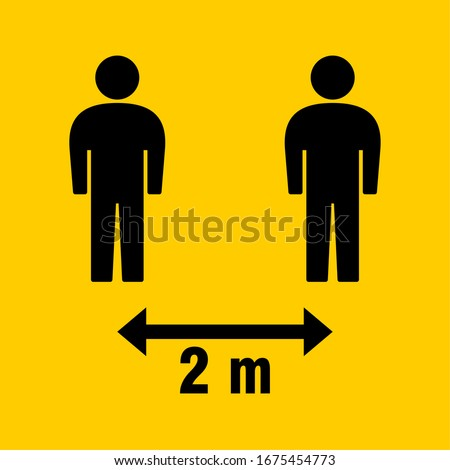 Social Distancing 2 Meters Icon. Vector Image.