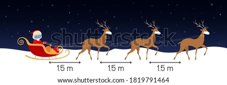 Social distancing 1,5 meters. Santa and reindeers in face masks. Vector illustration.