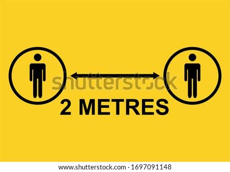 Social Distancing 2 Metres Icon. Vector Image. Zdjęcia stock ©