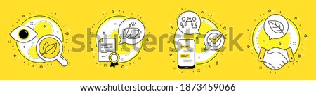 Social distancing, Mint leaves and Mint tea line icons set. Licence, cell phone and deal vector icons. Leaf sign. Quarantine, Mentha herbal, Mentha beverage. Environmental. Healthcare set. Vector Foto stock ©