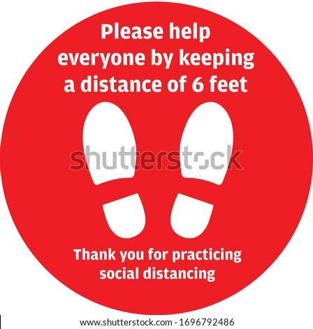 Social Distancing or Safe Distancing Floor Sticker for stores and supermarkets to help reduce the spread of covid-19 coronavirus