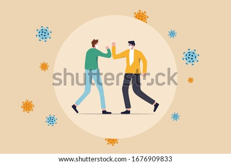 Social distancing, people keep distance and avoid physical contact, handshake or hand touch to protect from COVID-19 coronavirus spreading concept, people bump arm or elbow bump with virus pathogens