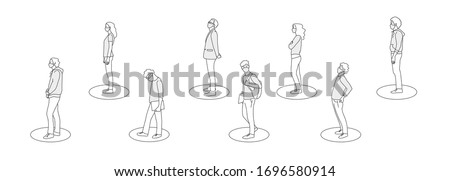 Social Distancing, People keeping distance for infection risk and disease ,wearing a surgical protective Medical mask for prevent virus Covid-19. Health care concept. Line drawing vector illustration.