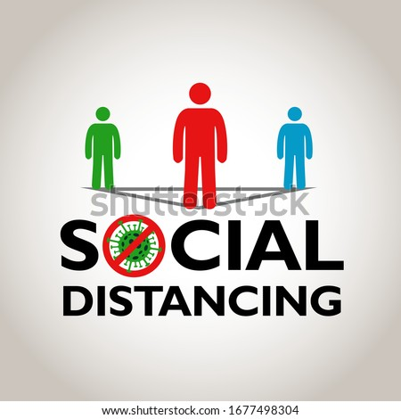Social distancing, people standing away to prevent COVID-19, coronavirus outbreak, vector illustration