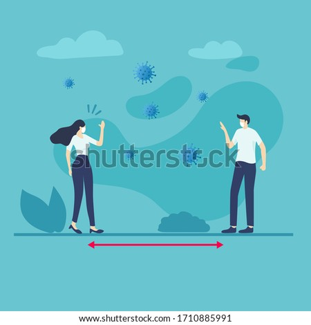 Social distancing.  physical distancing, keep distance in public society people to protect from COVID-19 coronavirus outbreak spreading concept, man and woman keep a distance in a meeting.