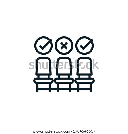 Social distancing, physical distancing sitting in a public chair outline icon. Editable stroke. Keep distance in public society people to protect from coronavirus, covid-19 spreading concept.