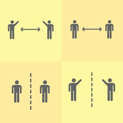 Social distancing pictogram bundle. Two human figures pack standing straight keeping distance from each other. Separation sign stack. Personal space vector. Clear simple message. Sickness prevention.