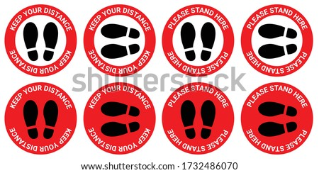 Social distancing, Please Stand Here, Keep Your Distance Sticker, footprint sign red color, COVID-19 Coronavirus, New Normal, signage vector, Lift, Elevator, caution