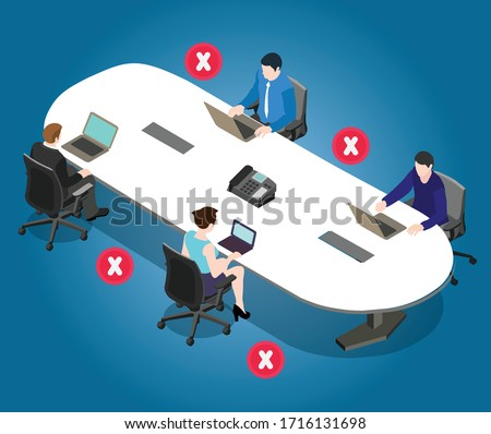 Social distancing poster for meeting room in office. Office employees are maintain social distance board room. Awareness image for precautions of covid-19 coronavirus.