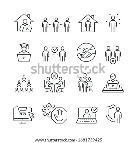 Social distancing related icons: thin vector icon set, black and white kit