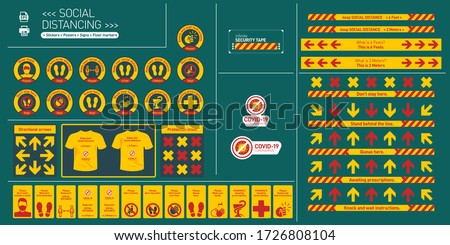 Social distancing, set of Stickers, Posters, Signs, Floor markers for public and private spaces, commercial stores, offices, houses, elevators, parking, subway, taxi, bus. Covid-19, Corona virus, Sars