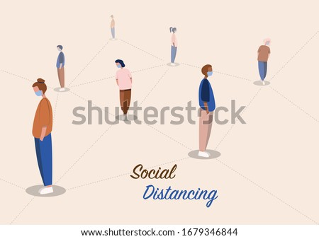 Social distancing, social distancing in public, people practice social distancing to protect from COVID-19 coronavirus outbreak spreading concept, avoid social contact. Vector Illustration