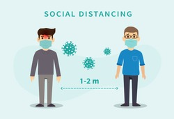 Social distancing. Space between people to avoid spreading COVID-19 Virus. Keep the 1-2 meter distance. Vector illustration