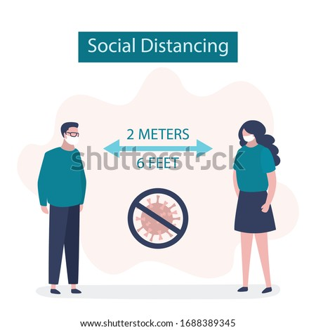 Social Distancing, two people keeping distance for infection risk and disease. 2 meters or 6 feet distance between humans.Covid-19 prevention banner. Viral infection pandemic. Flat vector illustration